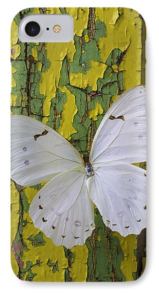 White Butterfly On Old Wall IPhone Case by Garry Gay