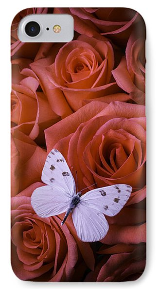 White Butterfly On Orange Roses IPhone Case by Garry Gay