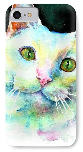 IPhone Case featuring the painting White Cat by Christy Freeman