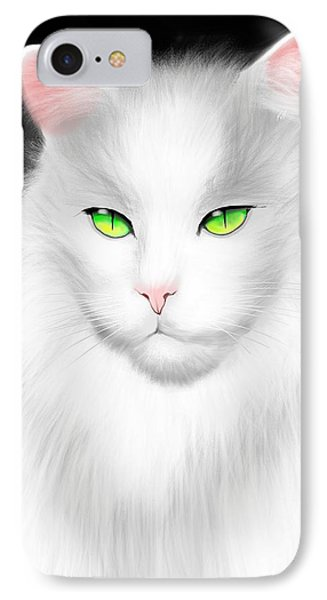White Cat IPhone Case by Salman Ravish