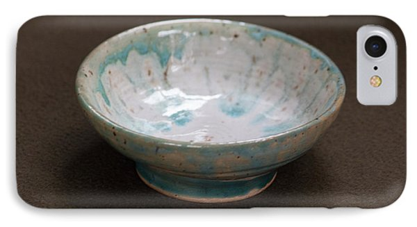 White Ceramic Bowl With Turquoise Blue Glaze Drips IPhone Case by Suzanne Gaff