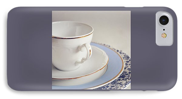 IPhone Case featuring the photograph White China Cup, Saucer And Plates by Lyn Randle