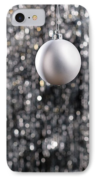 IPhone Case featuring the photograph White Christmas Bauble  by Ulrich Schade