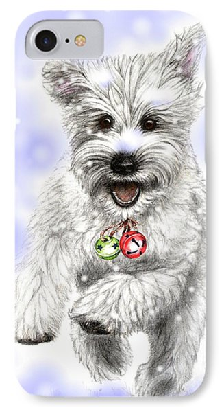 White Christmas Doggy IPhone Case by Heidi Kriel