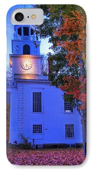 White Church In Autumn At Sundown - Windsor Vermont IPhone Case by Joann Vitali