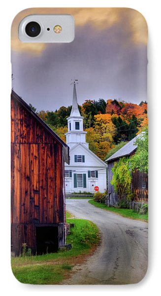 White Church In Autumn - Waits River Vermont IPhone Case
