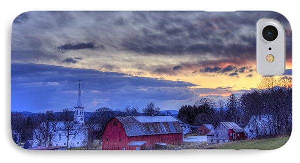 White Church Red Barn Country Scene - Peacham Vermont IPhone Case