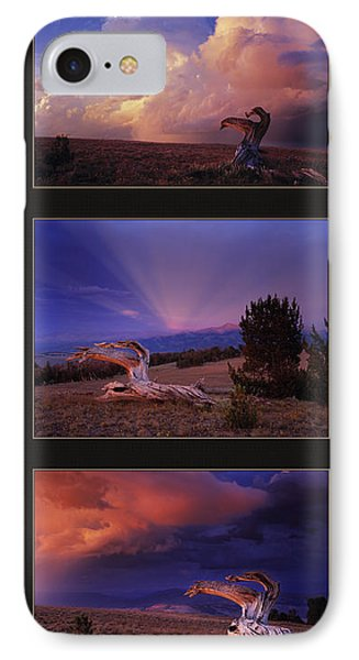 Mountain Sunset iPhone 7 Case - White Clouds Triptych by Leland D Howard