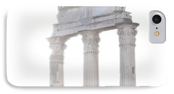 White Columns Temple Of Castor And Pollux In The Forum Rome Italy Phone Case by Andy Smy