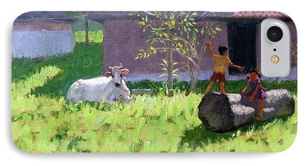 White Cow And Two Children IPhone Case by Andrew Macara