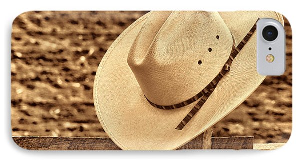 White Cowboy Hat On Fence IPhone Case by American West Legend By Olivier Le Queinec
