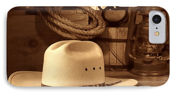 White Cowboy Hat On Workbench IPhone Case by American West Legend By Olivier Le Queinec