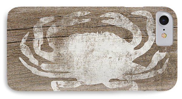 White Crab On Wood- Art By Linda Woods IPhone Case