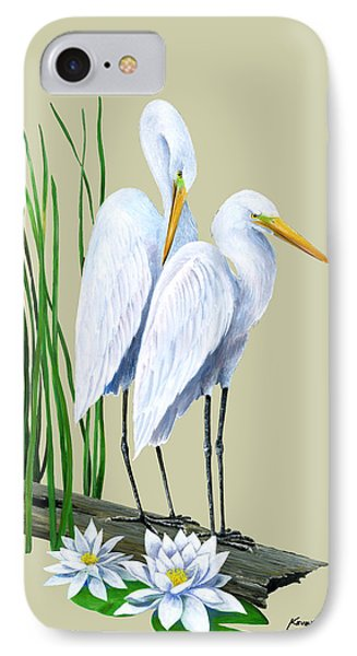White Egrets And White Lillies Phone Case by Kevin Brant