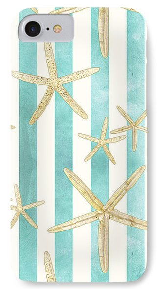White Finger Starfish Watercolor Stripe Pattern IPhone Case by Audrey Jeanne Roberts