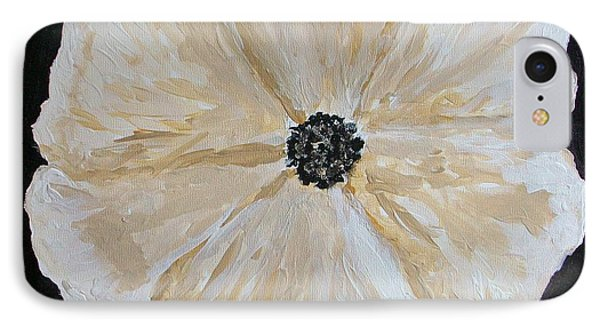 White Flower On Black Phone Case by Marsha Heiken