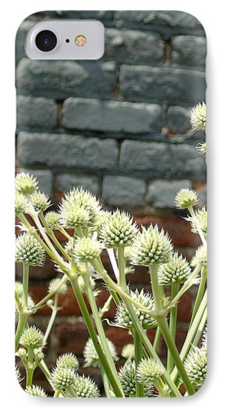 White Flowers And Bricks IPhone Case