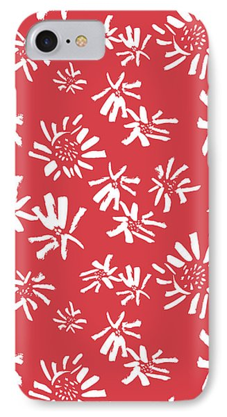 White Flowers On The Red IPhone Case by Gala Sofie Kuhn