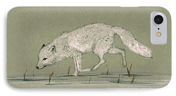 White Fox Walking IPhone Case by Juan  Bosco