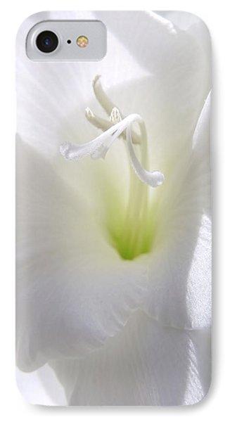White Gladiola Flower Macro IPhone Case