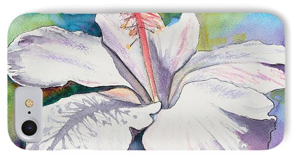 White Hibiscus Waimeae IPhone Case by Marionette Taboniar