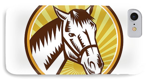 White Horse Head Sunburst Circle Woodcut IPhone Case