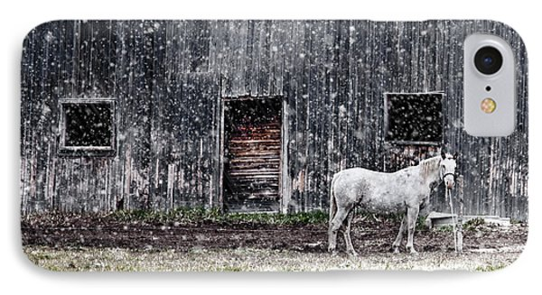 White Horse In A Snowstorm  IPhone Case