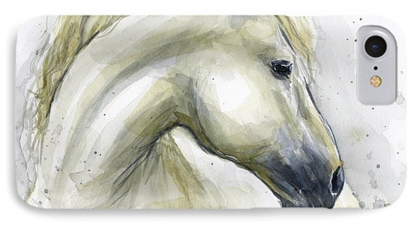 White Horse Watercolor IPhone Case