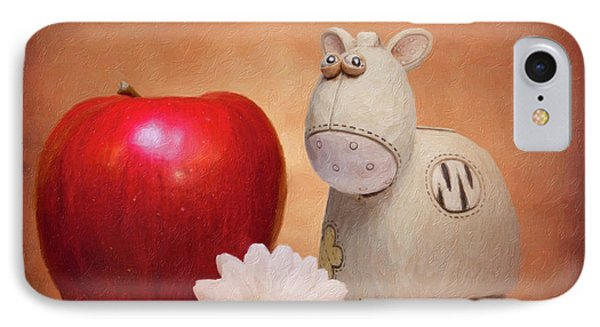 Daisy iPhone 7 Case - White Horse With Apple by Tom Mc Nemar