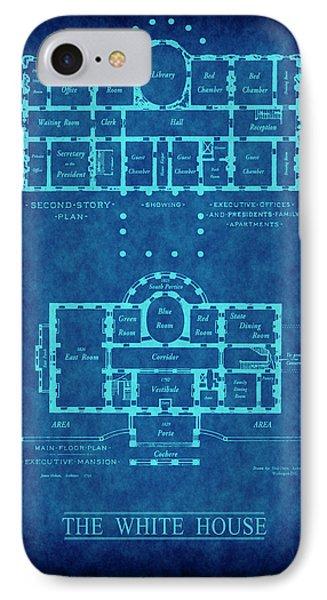 White House Blueprint IPhone Case by Daniel Hagerman
