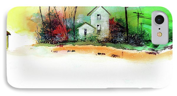 IPhone Case featuring the painting White Houses by Anil Nene
