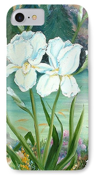 IPhone Case featuring the painting White Iris Love by Renate Nadi Wesley