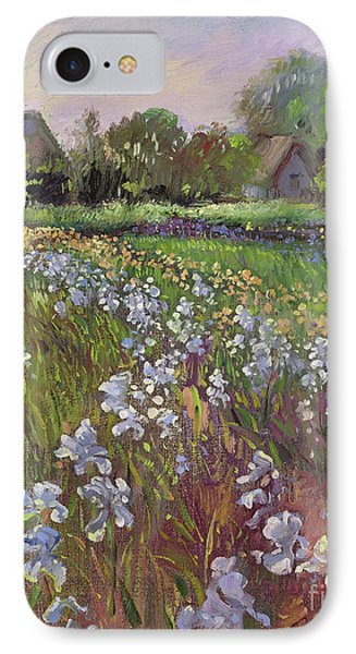 White Irises And Farmstead IPhone Case by Timothy Easton