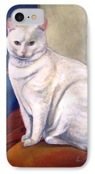 IPhone Case featuring the painting White Kitty by Laura Aceto