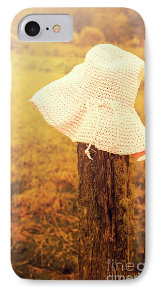 White Knitted Hat On Farm Fence IPhone Case by Jorgo Photography - Wall Art Gallery