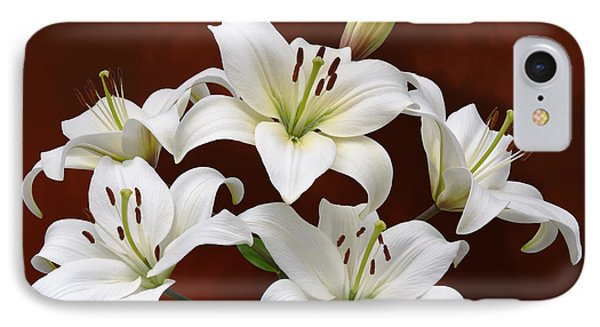 White Lilies On Red IPhone Case by Jane McIlroy