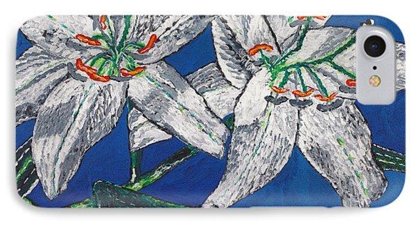 White Lilies IPhone Case by Valerie Ornstein