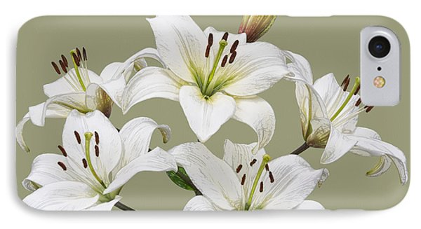 White Lilies Illustration IPhone Case by Jane McIlroy