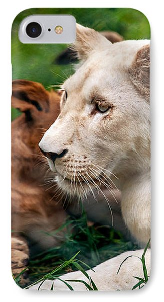 White Lion Cub Phone Case by Jenny Rainbow