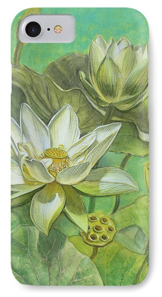 White Lotuses In Turquoise Lake IPhone Case