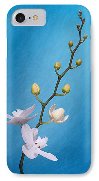 White Orchid Buds On Blue IPhone 7 Case