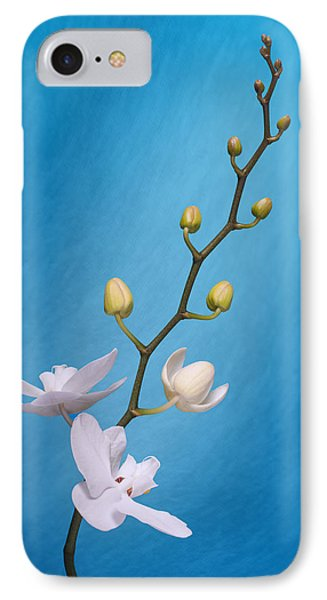 White Orchid Buds On Blue IPhone 7 Case by Tom Mc Nemar