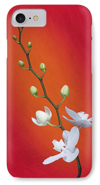 White Orchid Buds On Red IPhone 7 Case