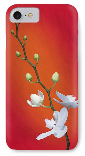 White Orchid Buds On Red IPhone 7 Case by Tom Mc Nemar
