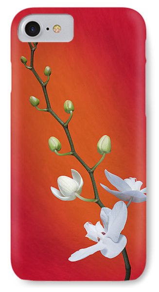 White Orchid Buds On Red IPhone Case by Tom Mc Nemar