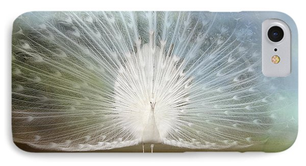 IPhone Case featuring the photograph White Peacock In All His Glory by Bonnie Barry