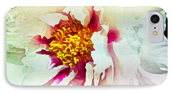 White Peony IPhone Case by Joan Reese