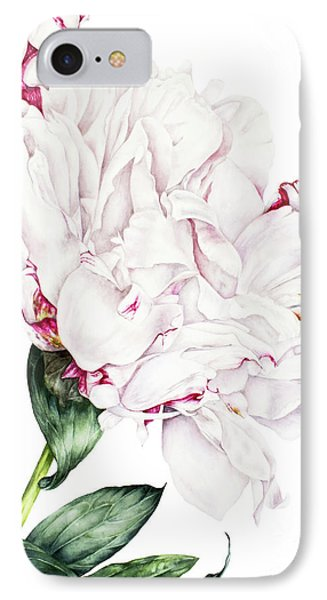 White Peony IPhone Case by Marie Burke