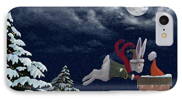 White Rabbit Christmas Phone Case by Audra Lemke