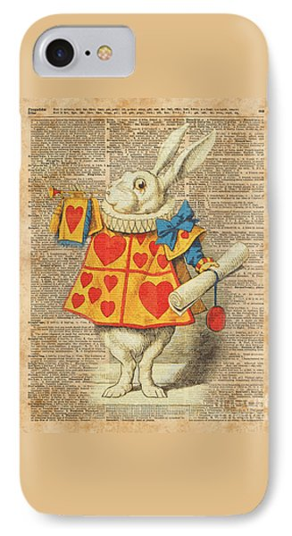 White Rabbit With Trumpet Alice In Wonderland Vintage Dictionary Artwork IPhone Case by Jacob Kuch